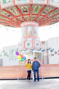 Myrtle Beach Carnival Wedding Engagement via Carolina Studios by Gillian Reinhard #myrtlebeach #weddings #balloons #carnival