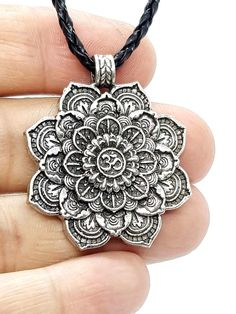 Mandala,Lotus Flower OM (Aum) Hindu Pewter Pendant Necklace, Double Sided,    d6 , Mandala, amazing spiritual pendant, om Aum yoga,peace