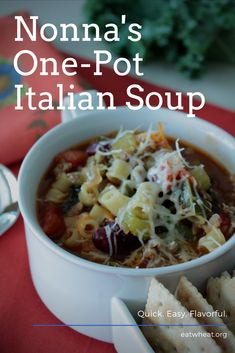 Nonna's One-Pot Italian Soup served up hot and fresh is an easy weeknight recipe! Easy Family Meals, Easy Weeknight Meals, One Pot Meals, Quick Easy Meals, Easy Dinner Recipes, Italian Soup, Italian Recipes, Beef Recipes, Soup Recipes