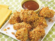 Pretzel-Crusted Chicken Nuggets | Form a crust and add extra flavor to chicken nuggets with a coating mixture of pretzels and Parmesan cheese.