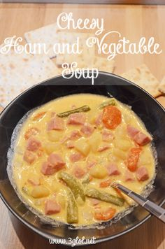 Cheesy Ham and Vegetable Soup. Perfect for cold weather. Loaded with ham, vegetables and velveeta cheese.  www.3glol.net