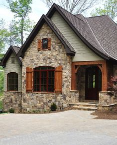 Exterior Paint Colors - You want a fresh new look for exterior of your home? Get inspired for your next exterior painting project with our color gallery. All About Best Home Exterior Paint Color Ideas Style At Home, Cottage Exterior Colors, Stone Exterior Houses, Exterior Paint Colors For House With Stone, Building Design, Building A House, Rustic Cottage, Cottage Style, House Front