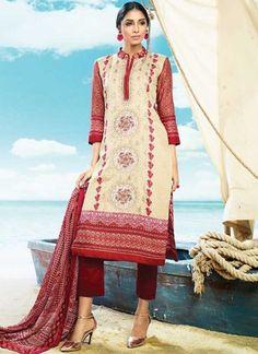 Maroon Embroidery Work Printed Cotton Satin Designer Pakistani Palazzo Suit http://www.angelnx.com/Salwar-Kameez/Pakistani-Suits