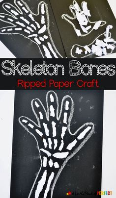 No scissors are needed for this fun craft! Make skeleton bones with ripped paper, chalk, and glue! perfect for a human anatomy lesson, X is for X-ray craft, or spooky Halloween decoration. This project is great for fine motor skills! Spooky Halloween Decorations, Halloween Crafts For Kids, Paper Crafts For Kids, Halloween Halloween, Vintage Halloween, Halloween Makeup, Halloween Costumes, Halloween Labels, Vintage Witch