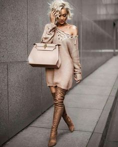 Micah Gianneli Woollen Fashion Look // ✿‿Woollies For Winter⁀✿ Spring, Summer Or Fall //Sweater & boots from // Fashion Killa, Look Fashion, Fashion Outfits, Womens Fashion, Fashion Trends, Fashion Bloggers, Street Fashion, Fashion Inspiration, Style Casual