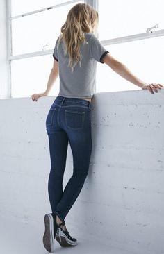 Bullhead Denim Co. Dark Rinse Mid Rise Skinny Jeans