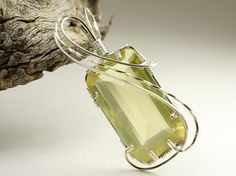 Faceted Prehnite, Wire Wrapped with Sterling Silver | WiredElegance - Jewelry on ArtFire