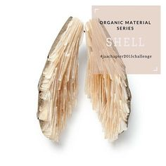 #organicmaterialseries  Shell Traditionally carved and pierced shell can also be polished and dyed to create various effects.  #shell #jeweller #jewellery #ring #bracelet #bangle #necklace #chain #pendant #earrings #brooch #silver #wood #cement #motherofpearl #jaachapter2015challenge #page332of365  Image: Terhi Tolvanen, 'Wings', Mother of pearl, cement, silver, wood