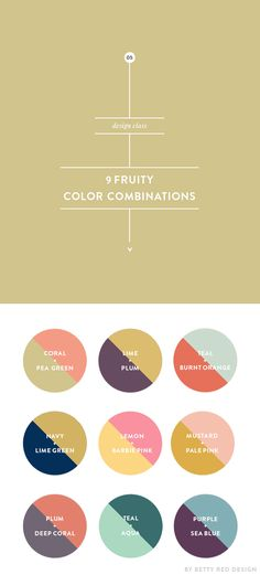 9 fruity color combinations, from http://blog.bettyreddesign.com/9-fruity-color-combinations/