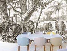 This one's called Family Dinner for obvious reasons and forms part of our VINTAGE range. But really how sweet would this look in a playroom… Wall Design, Playroom, Tapestry, Range, Dinner, Wallpaper, Sweet, House, Vintage