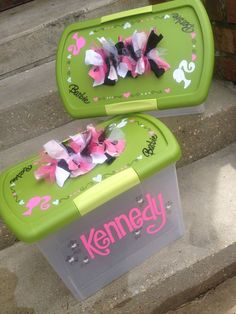 #Barbie storage idea. I think I can do this myself.  Cute, Fun, Functional: Custom, hand-painted large plastic storage container w/ latching lid & funky handle for kids. $30.00, via Etsy.