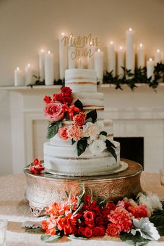 Modern Ombré Wedding Style ~ gorgeous semi naked cake with ombré flowers