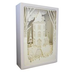 The Moomin night shadow box is a beautiful gift that will be treasured forever. It is made from layers of delicate white paper to create a delightful Shadow Light Box, Night Shadow, Shadow Box, Moomin House, Moomin Mugs, Disaster Designs, Magical Home, Blue Clouds, Paper Dimensions