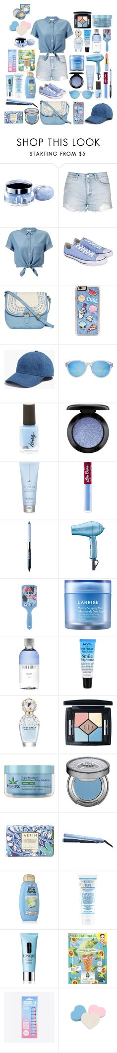 """""""Blue"""" by christinemusal ❤ liked on Polyvore featuring Thierry Mugler, Topshop, Miss Selfridge, Converse, T-shirt & Jeans, Zero Gravity, Madewell, Levi's, MAC Cosmetics and Drybar"""