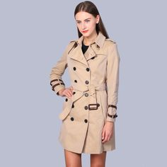 2016 London Fashion Brand double breasted leather buckle Trench Classic European Trench Coat Double Breasted Women Pea Coat♦️ B E S T Online Marketplace - SaleVenue ♦️👉🏿 http://www.salevenue.co.uk/products/2016-london-fashion-brand-double-breasted-leather-buckle-trench-classic-european-trench-coat-double-breasted-women-pea-coat/ US $108.00