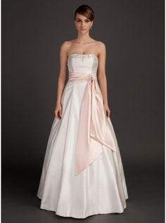 A-Line/Princess Strapless Floor-Length Charmeuse Wedding Dress With Sash Beading