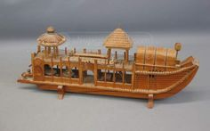 shopgoodwill.com: Asianesque Wooden Boat With Fine Details
