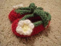 Crocheted Strawberry Slippers, #crochet
