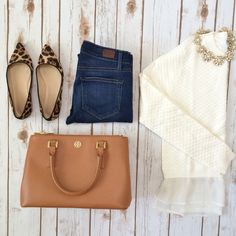 Quick and Casual Outfit: Leopard flats, leather purse, ruffle hem sweater, statement necklace, denim jeans - StylishPetite.com