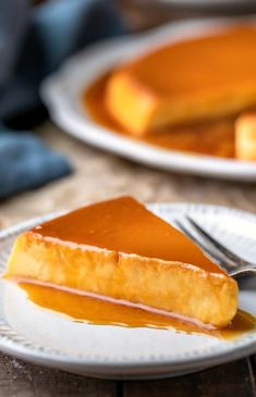 Slice of flan de queso topped with caramel sauce Custard Desserts, Potluck Desserts, Make Ahead Desserts, Best Dessert Recipes, Sweet Recipes, Cake Recipes, My Best Recipe, Latest Recipe, Cream Cheese Flan