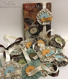 #Bookmarks fabric flowers + ribbon + button visit me at My Personal blog: http://stampingwithbibiana.blogspot.com/