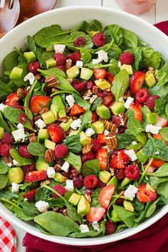 Strawberry Raspberry Cranberry Avocado Spinach Salad with Strawberry Poppy Seed Dressing