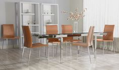 Euro Style Max Side Chair (Set of 2) in Cognac Leather/Chrome