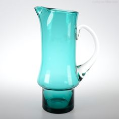Retro Whitefriars tall glass jug with pinched spout in beautiful Turquoise. Glass Jug, Retro, Antiques, Beautiful, Collection, Art, Antiquities, Art Background, Antique