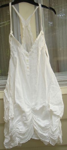 MAGNOLIA PEARL WHITE LINEN APRON DRESS~OS #magnoliapearl
