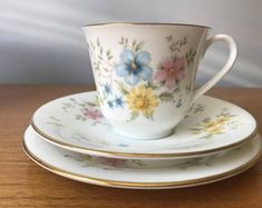 """Royal Doulton """"Elegy"""" Vintage Teacup Trio, Pastel Pink Blue and Yellow Flower Tea Cup, Saucer and Side Plate, Butterfly Floral English China"""