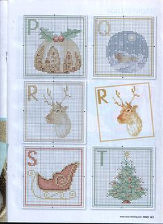 Christmas Alphabet #4 - Chart PQRST; thread key on #6 - image only