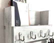 Rustic key holder, mail organizer, white key holder,  reclaimed wood key rack, entryway shelf, key hook, entryway decor, white shelf