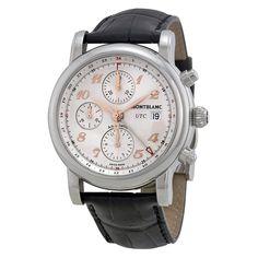 Montblanc Star Chronograph UTC Silver Dial Black Leather Men's Watch 110590