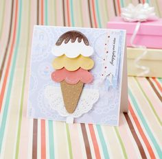 Layer up our free templates to make this pretty ice cream card!