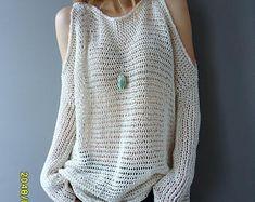 Oversized/Slouchy knit sweater/tunic. Open shoulders knit tunic. Loose knit womens tunic.