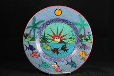 Vntg Mexican Ceramic Hanging Plate Handmade/Painted Collectible Folk Art Decor