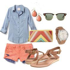 coral, blue, & tan