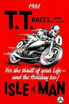 1961 Isle of Man TT Race - Promotional Advertising Poster
