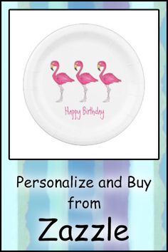 Shop Happy Birthday Tropical Island Pink Flamingo Bird Paper Plate created by rebeccaheartsny. Pink Flamingos Birds, Flamingo Bird, Flamingo Birthday, Party Tableware, Paper Plates, Biodegradable Products, Party Favors, Create Yourself, Happy Birthday