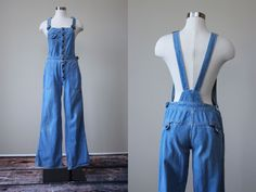 70s Denim Overalls - Vintage 1970s Flare Leg Bell Bottoms Jean Overalls S - Hang Ten Overalls by jumblelaya on Etsy