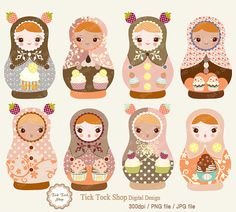 Matryoshka high quality SET  02 6 inch Clip Art by KangByeol, $4.50