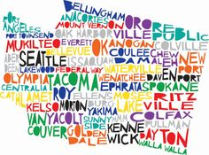 WASHINGTON State Digital Illustration Print with Spokane Seattle Walla Walla Vancouver