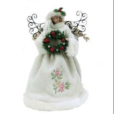 "Season's Designs 12"" White Fabric Angel Tree Topper With Pink Embroidered Floral Dress"