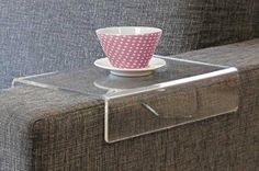 "Amazon.com: ""Anabelle"" Clear Acrylic Arm Rest Caddy - Arm Tray Table For Sofa Couch Upholstered Stool - Arm Chair Caddy - Ottoman Wrap Tray: Kitchen & Dining"