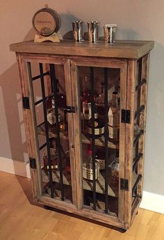 Liquor Cabinet Rustic Iron and Wood with by RetroWorksStudio
