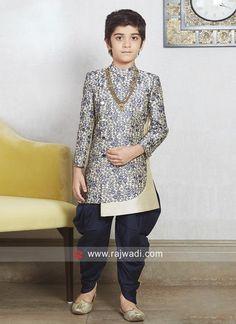 Cream Brocade Silk Indo Western. #rajwadi #kidswear #boys #ethnic #traditional #modern #trendy #fashionable #kidsfashion Kids Party Wear, Kids Wear, Indian Wedding Wear, Indian Wear, Indian Men Fashion, Boy Fashion, Baby Boy Ethnic Wear, Modi Jacket, Gents Kurta