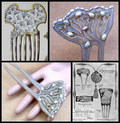 An unusual Art Nouveau hand wrought comb in clarified horn embellished with pearls CONDITION: good vintage condition SIZE: 5 ins h x 2½ ins w (13 x 6