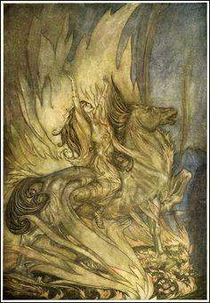 Illustration by Arthur Rackham. Valkyrie perhaps [SCANDINAVIAN MYTHOLOGY]