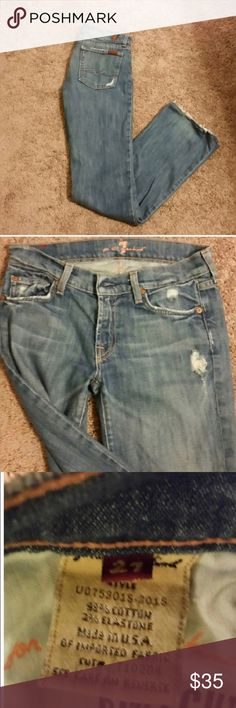 "7 For All Mankind distressed jeans size 27 These jeans are SO comfortable and worn in! Soft and distressed! I've gotten a new pair of ""worn"" jeans to replace them, but you will love these! Jeans"