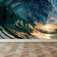 Wall Mural Ocean Wave Peel and Stick by RoyalWallSkins on Etsy